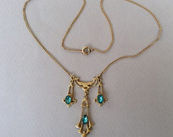 Art Nouveau Lavallière Gold Tone Aqua Paste Pendant Chain Necklace