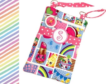 Shopkins Monogram Crossbody Purse, Sling Bag, Pink, Small Crossbody Bag, Shoulder Bag, Cross Body Bag, Lippy Lips, Little Girl Birthday Gift