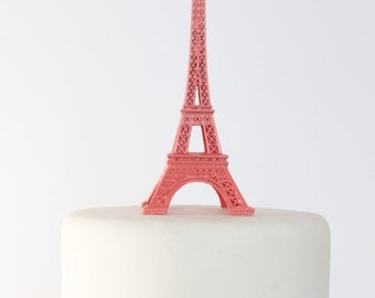 Coral Paris Eiffel Tower Cake Topper, Madeline, France, Centerpiece, Parisina Decoration, overthetopcaketopper