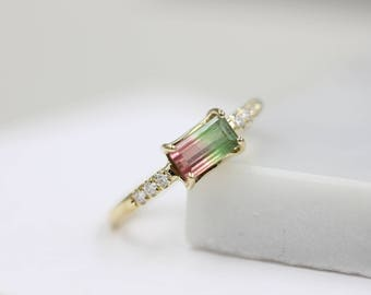 14k solid gold watermelon tourmaline ring engagement ring anniversary ring