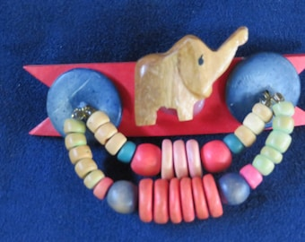"ELEPHANT Hair Pin Handmade, Wooden & Coloured Beads, 3"" Long, 2"" High (#542)"