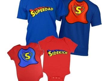 Superdad mens t-shirt and Sidekick baby grow - Matching Combo Set
