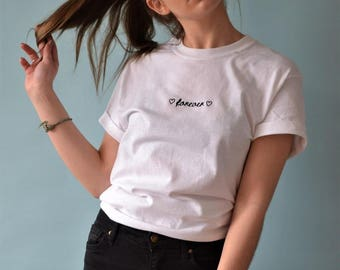 Forever Embroidered White tee