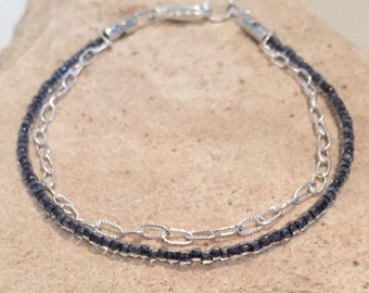 Silver chain and gray seed bead bracelet, sterling silver bracelet, simple bracelet, gray bracelet, gift for her, gift for wife