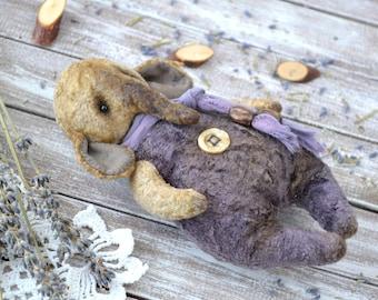 """OOAK Friend teddy bear elephant """"Billey"""", artist elephant, vintage plush toy, stuffed elephant, primitive toy, teddy elephant"""