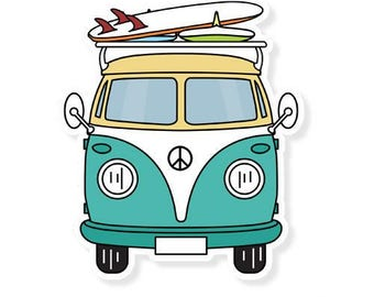 Volkswagen Decal, Volkswagen Bus, Laptop Stickers, Laptop Decal, Car Decal, Car Sticker, Window Decal, Travel Sticker, Vinyl Decal