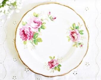 "Vintage Royal Albert ""American Beauty"" Salad Plate 8"" | English Plate, Pink Plate, Vintage Plate, Tea Party Plate, Pretty Salad Plate"