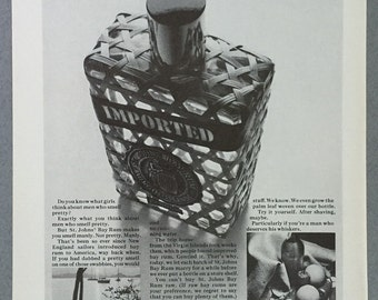 "1967 St. Johns' Bay Rum Aftershave Print Ad - ""Do you know what girls think about men who smell pretty?"""