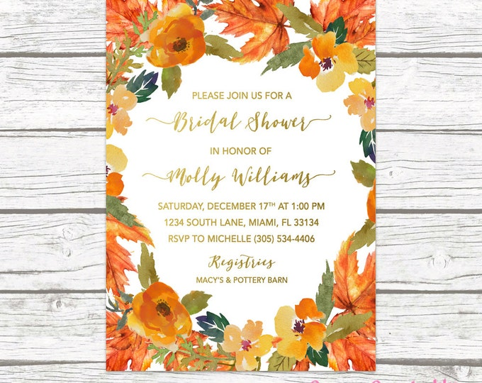 Fall in Love Bridal Shower Invitation, Autumn Falling in Love Floral Leaves Wreath Wedding Rustic Invite, Gold Foil Printable Printed