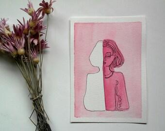 watercolor illustration, pink, 10x15cm