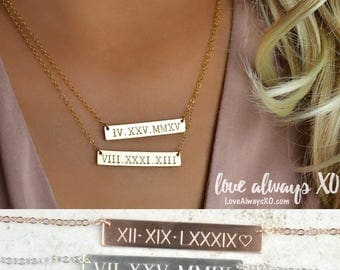 Roman Numeral Necklace, Custom Bar Necklace, Date Necklace, Birthday Gift, Gold Bar Necklace, Wedding date, anniversary date