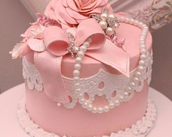 "Faux fake cake, wedding topper, pink pearls  prop rhinestones staging cake fake cake party decoration ""Sheila"""