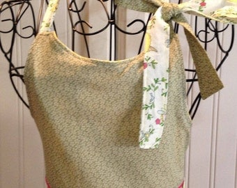 Vintage style girls full apron yellow ballerinas green bodice pink trim