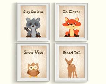 Woodland Forest Animals Art Prints - Qty 4 - Inspirational, Gender Neutral Nursery Wall Art Decor Fox, Owl, Bear Posters, Playroom, Bedroom