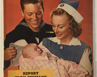 Vintage Collier's The National Weekly Magazine April 1, 1944 - Sailor and New Baby Cover / WWII Era Ads