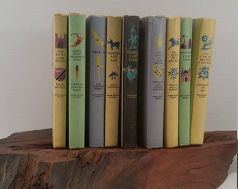 Vintage Child Library Set of 9 Books, Set of 9 Children's Books From 1950's, Mid Century Children's Collection of Books
