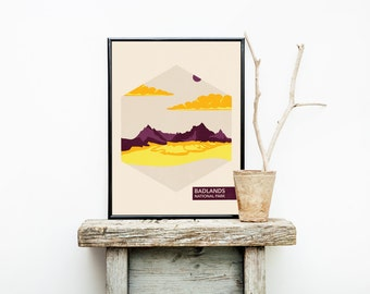 National Park Poster - Badlands - Hiking Travel Poster Vintage - Colorado - Badlands National Park  - Wedding Gift Ideas - Minimalist Poster