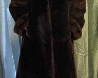 Vintage dark brown Mouton Lamb fur swing coat, size medium