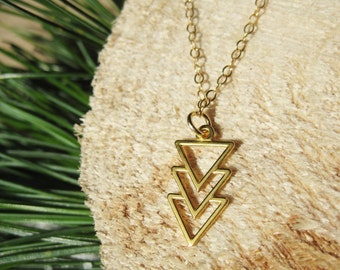 24k Gold Plated Sterling Silver Triple Arrow Triangle Geometric Necklace
