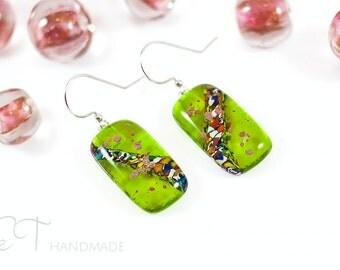 Lime green Murano glass earrings - Unique italian jewelry dangle earrings for sensitive ears - Unique gifts for women