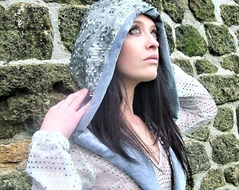 Sequin hood, Silver hood, chainmail hood, rave hood  scoodie. Festival hood. Warrior hood