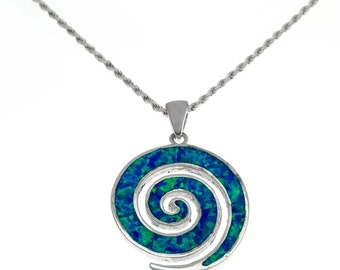 silver spiral pendant with blue opal,spiral necklace,spiral jewelry,blue opal pendant,silver spiral necklace,statement pendant,boho chic