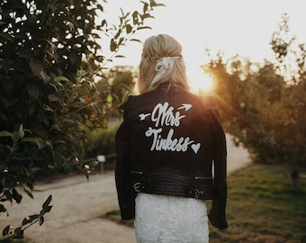 Custom Leather Jacket for Wedding with Removable Art