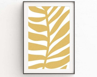 Tropical Leaf Art Print, Palm Leaf Print, Gold Decor, Large Art Print, Gold Wall Art, Palm Tree Decor, Tropical Decor, Wall Art Print