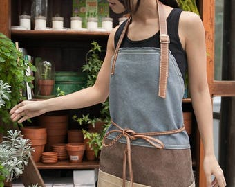 Waxed canvas leather full apron | barber apron | women working apron | barista apron | chef apron | mens apron | shop | work | mechanic