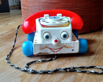 Fisher Price Chatter Telephone Wood Base/Vintage Toy/Nursery Decor