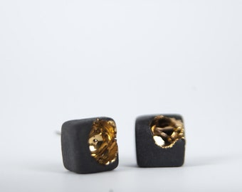 unique earrings, ceramic jewelry, gold filled earrings, modern jewelry, porcelain jewelry, square earring, black stud earring, cube earrings