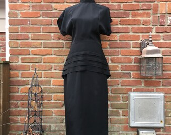 Vintage John Roberts dress, 80s John Roberts dress, 80s black dress, 80s movie black dress, Medium black dress, Medium 80s dress, size 9-10