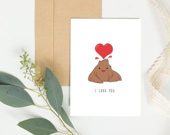 I lava you, mothers day card, anniversary, cute birthday card, valentines card, volcano card, funny boyfriend birthday card, wedding card