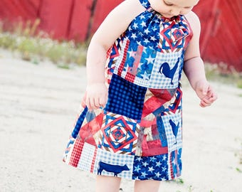 July 4th Farm Dress, Pillowcase Dress, Patriotic Dress, Girls clothing, Baby Dress, Stars and Stripes, Rustic, Country