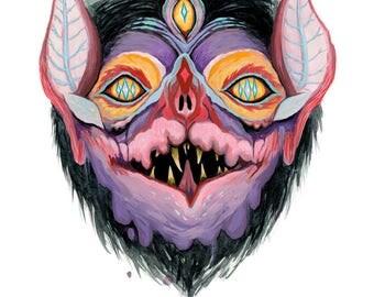 8 x 10 - Bat Mask of Young Chasm Percher - INKJET PRINT