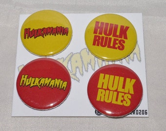 Hulkamania WWF WWE WCW Badge Set
