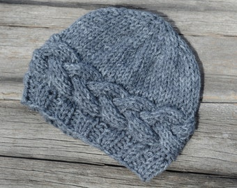 Knit Baby Beanie, Gray Horizontal Cable Hat, Knit Baby Hat, Photo Prop, Gift