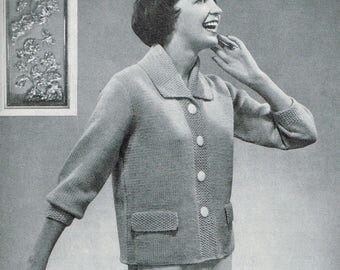 Vintage Knitting Pattern - 50s Elegantly Style Jacket for Women - PDF Download - Retro 1950s sweaters