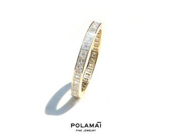 Princess Cut Diamond Eternity Ring 2mm 18k . Wedding Band . Full Half Eternity . Channel Setting. Yellow Rose White Gold . Polamai