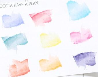 Planner Stickers Watercolor Splatter for Erin Condren, Happy Planner, Filofax, Scrapbooking