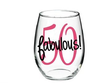 50th Birthday Wine Glass Etsy