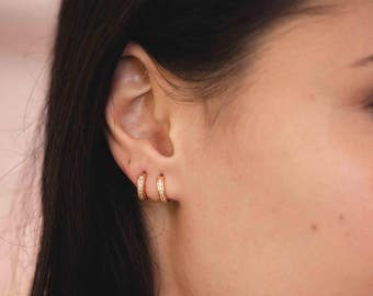 Tiny hoop earrings - rose gold huggie earrings - dainty hoops - huggie hoops - rose gold hoops earrings - minimalist hoop earrings -