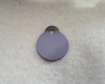 Small Gray Circle Tag,  Pet ID Tags, Engraved Pet Tags, Cat Tags