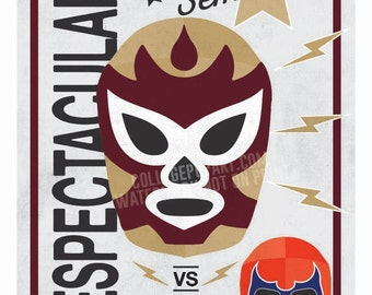 "Florida State Seminoles ""Seminole"" Luchador Mask Print 