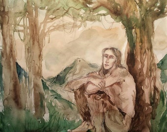 Pondering Faun Original Artwork Mythical Creatures Satyr Pan Forest God Laughing Thinking the Labyrinth Horns Ears Legs Antique Style Ink