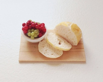 Dollhouse Miniature Food - Bread and Grapes Platter in 1:12 Scale