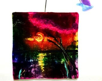 Velvet Wool Picture,Original Art Tapestry,Water Sunset Picture, Velvet Painting,Unframed Felted Art,Hand Felted Art, Needle Felted Art