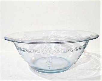 Fire King Philbe Sapphire Blue Mixing Bowl   Vintage Blue Glass Mixing Bowl 2 Quart   Fire King Philbe Glass Nesting Bowl