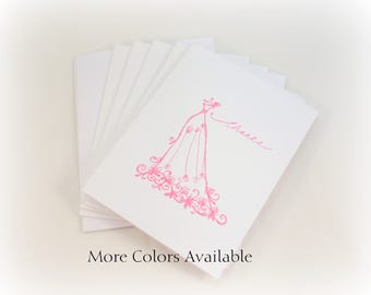 Wedding Thank You Cards, Wedding Dress, Wedding Thank You Notes, Thank You Card Set, Wedding Thanks Cards, Bridal Shower, Wedding Day Thanks