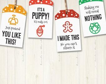 Christmas gift tags, printable cheeky holiday gift tags, funny labels, hang tags, secret santa gift tags, xmas gift tags, PDF, DIGITAL